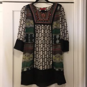 AKIRA Sheer Patterned Embroidered Dress